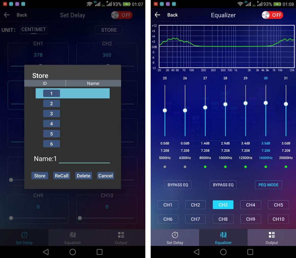 The user interface of the Android application
