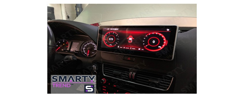 The review of the SMARTY Trend head unit installed on Audi Q5, its compatibility with factory functions.