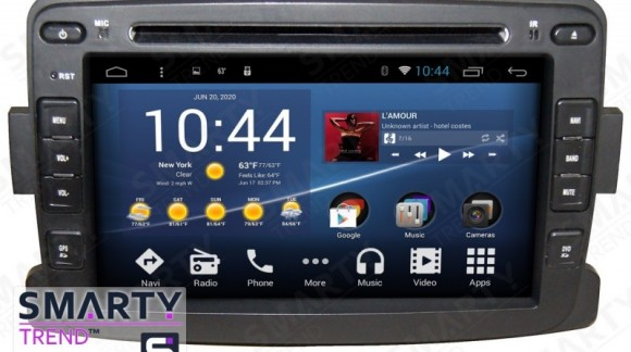 SMARTY Trend head unit overview for Renault Logan, Renault Sandero, Renault Duster.
